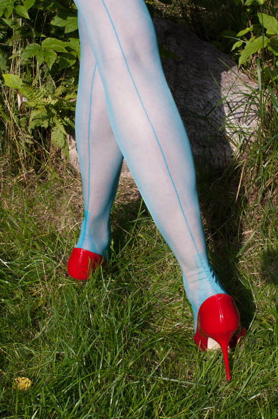 green ff nylons and high heels