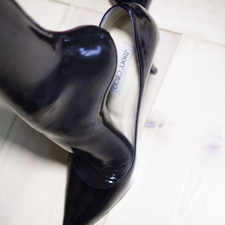 Feet in latex stockings