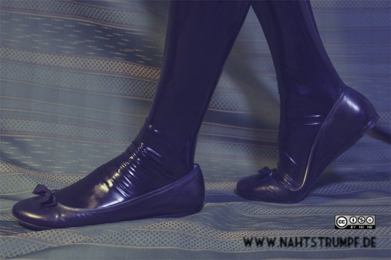 Miu Miu flats, black latex stockings