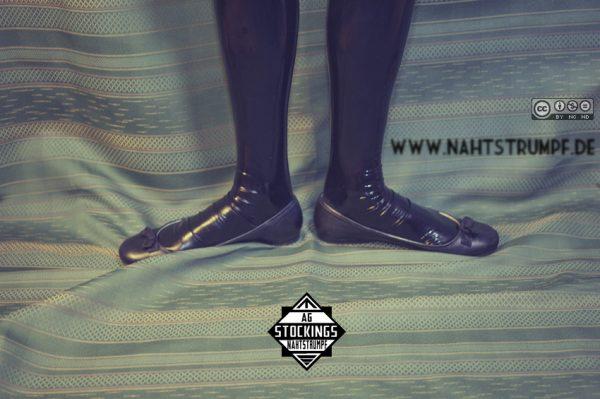 Latex stockings, flats