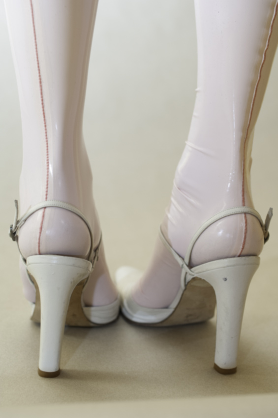 Baby pink latex stockings by AG Nahtstrumpf