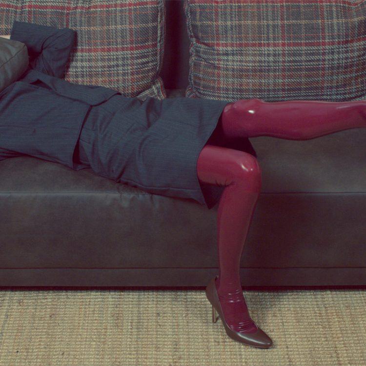 bordeaux latex stockings