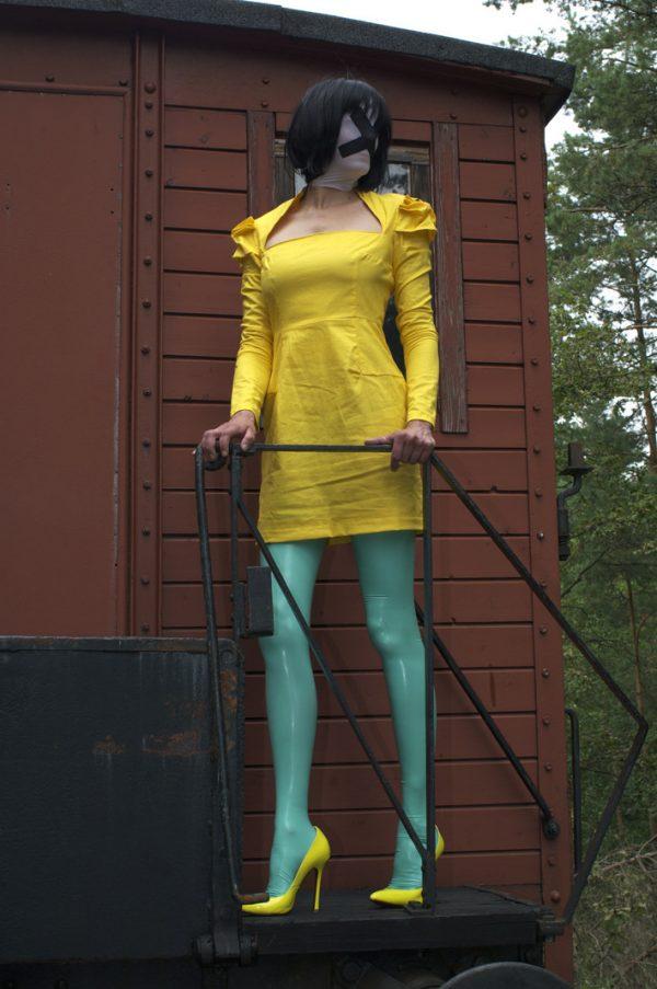 Jade green latex stockings by AG Nahtstrumpf