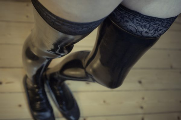 latex stockings holdups